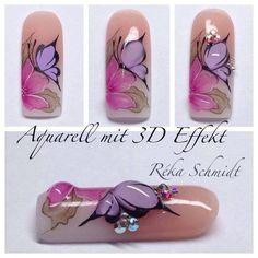 Uñas mariposa con Efecto| - 3d Nail Art, 3d Nails, Nail Arts, Cute Nails, Pretty Nails, Butterfly Nail Designs, Butterfly Nail Art, Nail Art Designs, Schmidt