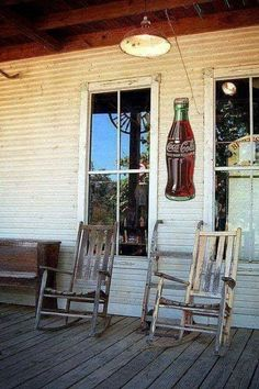Love the coke sign and the chairs - takes me back to my grandparents front porch where many a wonderful hour was spent in the summer! Country porches - nothin' like 'em - so TEXAS style! Old General Stores, Old Country Stores, Country Life, Country Living, Country Style, Country Roads, Country Porches, Southern Porches, Country Charm
