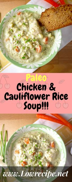 Paleo Chicken & Cauliflower Rice Soup!!! - Low Recipe