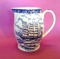 #Adams #Jonroth - #Blue And #White #Transferware #Pitcher Or #Jug - SS #Shenandoah #Sailing #Ship - #OldStaffordshireWare #Staffordshire #England #Bath #Maine #AdamsPotteries #Porcelain #Vintage #Antiques Bath Maine, Sailing Ships, Vintage Antiques, Ss, Porcelain, England, Blue, Ebay, Porcelain Ceramics