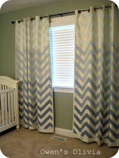 Create your own Chevron design on your curtain.  If I get ambitious I might just try this in our bedroom on a plain white curtain.