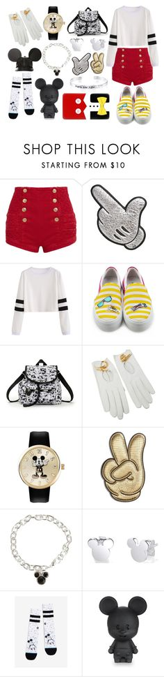 """""""Mickey Mouse Inspired"""" by sconesareawesome-iggybrows ❤ liked on Polyvore featuring Pierre Balmain, Anya Hindmarch, Joshua's, LeSportsac, Hermès, Disney and Belk Silverworks"""