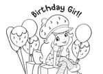 Birthday party coloring book sheet for a Strawberry Shortcake birthday party