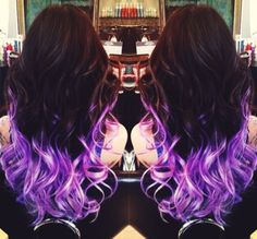 Electrifying purple ombre dip dyed hair color inspiration
