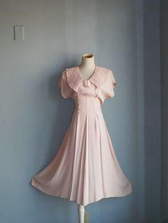 1980s matte Blush Pink fit and flair dress size by LuxLoveVintage