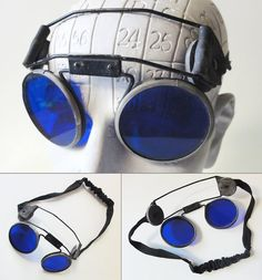 Vintage Welding Glasses Goggles Blue Steampunk by Chixycoco