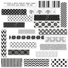 Black and white washi tape clip art set - digital clipart - Personal and small commercial use. $3.00, via Etsy.