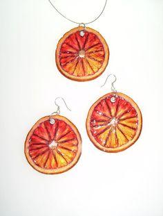 Blood Orange Set  Fruit Jewelry by realfruitjewelry on Etsy, $51.00