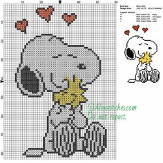 Snoopy and Woodstock free cartoons cross stitch pattern 60x83 4 colors