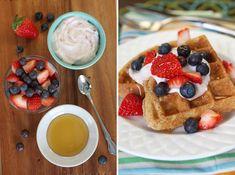 Whole Grain Waffles with Greek Yogurt and Berries