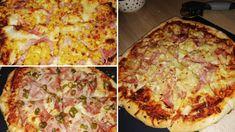Minek rendeljek, ha én is el tudom készíteni?! :) Hagyományos vasárnapi ebéd! Hozzávalók 4 dkg élesztő 1 ek cukor 1 kiskanál só 0,6 dl tej 3,2 dl meleg víz 2 ek olaj (+a formák, tepsi kikenéséhez) 50 dkg pizzaliszt. + szósz paradicsom sűrítmény +pizza fűszerkeverék. + feltétek: prosciutto (sonka), kukorica, ananász, Peperoni, mozzarella és edami … Hawaiian Pizza, Prosciutto, Food Art, Mozzarella, Mashed Potatoes, Food And Drink, Ethnic Recipes, Kitchen, Invite