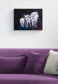 Family of elephants artwork - elephants on parade is a gorgeous purple and white textured painting on a 30 cm x 40 xm box canvas by Caroline Skinner Art. It's ready to hang in your modern living room to add a pop of deep purple colour. Click to see more detail. #elephantlover #purpleart Deep Purple Color, Purple Art, Elephant Artwork, Purple Home Decor, Purple Painting, Purple Elephant, Family Painting, Elephant Family, Artwork Online