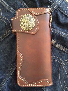 Handmade Genuine Leather Biker Men's Long Wallet Brown by RaakHandcraft on Etsy
