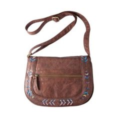 Mossimo Supply Co. Crossbody Bag with Perforated Detail on Flap - Brown