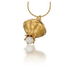 24k Gold Plated Silver Pomegranate Megemeria by Yvel Necklace with Fresh Water Pearl