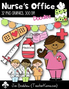These FUN little * polka dotted style * nurse's office graphics are so ready to join your office materials and decor! Add these graphics to parent newsletters, notes home about medicine and wellness, parent reminders. Nurse Office Decor, School Nurse Office, Nurse Decor, School Nursing, School Staff, Nurse Bulletin Board, Bulletin Boards, Nurse Clip Art, Nursing Information
