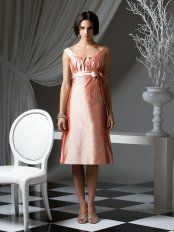 Pink A-Line Square Neckline and Strap Zipper Tea Length Prom Dresses With Sash and Draped