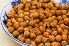 Crispy Roasted Chickpeas (Garbanzo Beans) with Moroccan Spices are a delicious and healthful snack!  [from Kalyn's Kitchen]