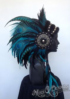 MADE TO ORDER Large Teal & Black Warrior Headdress