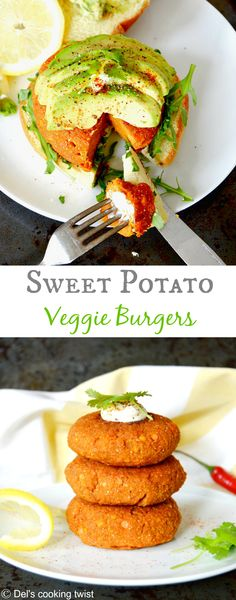 Too-good-to-be-true sweet potato veggie burger. Crispy on the outside and soft in the inside. Enjoy with a a yogurt dressing and fresh coriander! | Del's cooking twist