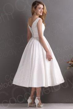 Elegant A Line V Neck Tea Length Satin Wedding Dress CWXA13001