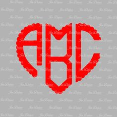 Heart Monogram SVG DXF, Monogram Letters, SVG files for Cricut Silhouette, svg files, Cutting Files, Monogram font, scallop heart letters, by JenDzines on Etsy