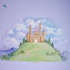 Castle murals castle wall art fairy art fairy tale for Fairy princess mural