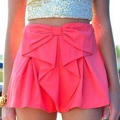 Stylish Elastic Waist Bowknot Embellished Chiffon Women's Shorts