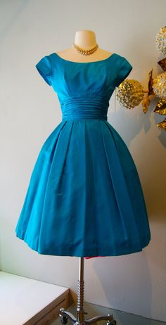 Vintage 1960's Turquoise Blue Satin Cocktail by xtabayvintage, $248.00