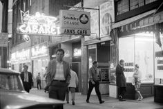 1964 photo of the nightlife on the 100 block of East Hastings, Vancouver, Canada (between Main and Columbia streets). New Zen Smilin Buddha Cabaret neon sign, Ann's Cafe, New Zenith Cafe. Georgia Street, Cabaret, Vintage Photography, British Columbia, Night Life, Vancouver, Canada, Neon Signs, History