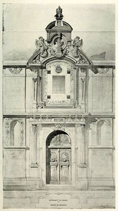 Elevation of the entrance to the Chapel of Marie de Medicis, Paris