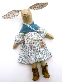 verykerryberry: Ms Bunny - Miss Maggie Bunny, by Alicia Paulson: notes on making… Crazy Patchwork, Fabric Animals, Doll Wardrobe, Fabric Toys, Softies, Plushies, Bear Doll, Needle Felted Animals, Sewing Toys