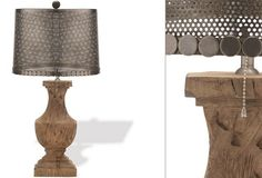 Wood Table Lamp With Perforated Metal Shade - From Antiquefarmhouse.com - http://www.antiquefarmhouse.com/current-sale-events/accent40/wood-table-lamp-with-perforated-metal-shade.html