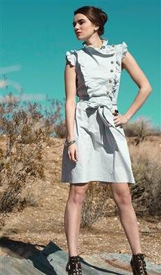 Light grey poplin dress with gold buttons and side ruffles