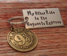 "Hand stamped ""My Other Ride is the Hogwarts Express"" Harry Potter inspired keychain with a 9 3/4 charm"