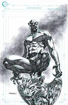 Black Panther Original pencils: Michael Sta. Maria Inks over bluelines: Jeffrey Huet #MichaelStaMaria #JeffreyHuet #BlackPanther #T'Challa #Wakanda #Avengers #Illuminati
