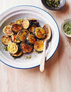 Honey and aubergine work really well together, and this recipe for aubergine slices with thyme and honey vinaigrette is a great one to have on-hand. They take a little time, but are easy to prepare and make a great side dish or snack.