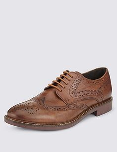 M&S Leather Lace Up Brogue Shoes GOOD STUFF