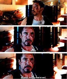 I love how scared he is! Iron Man Movie, Iron Man 3, Captain Marvel, Marvel Dc, Superhero Humor, I Understood That Reference, Clark Gregg, Steve And Tony, Iron Man Tony Stark