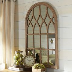 Add architectural interest to even the plainest wall with our Window Mirror. Place it anywhere you need a prettier view or in a corner that could benefit from beautifully reflected plays of light. A painted light brown finish completes the look. Arched Window Mirror, Foyer Mirror, Arch Mirror, Arched Windows, Window Mirror Decor, Wood Mirror, Window Frames, Cathedral Mirror, Cathedral Windows