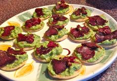 A platter of fabulous biltong and guacamole canapes that your guests will love Appetizer Recipes, Appetizers, Appetizer Ideas, Biltong, Christmas Lunch, South African Recipes, Grass Fed Beef, Savory Snacks