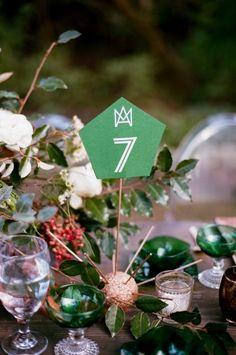 Emerald table decor: http://www.stylemepretty.com/little-black-book-blog/2015/03/17/emerald-copper-irish-wedding-inspiration/   Photography: Jenna Henderson - http://jennahenderson.com/
