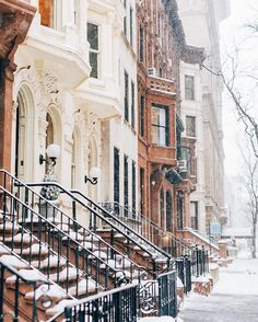 Winter amongst the brownstones NYC Nyc Brownstone, A New York Minute, New York Winter, New York Christmas, Winter Photography, Photography Ideas, Winter Scenes, City That Never Sleeps, Photos Du