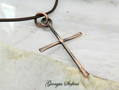 Copper cross adjustable leather necklace.Mens by dreamcityjewels