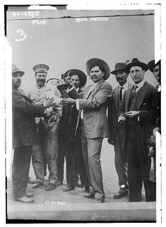 "Photo shows General Francisco ""Pancho"" Villa with Raul Madero (d. brother of Francisco Ignacio Madero during the Mexican Revolution Francisco Madero was president of Mexico and a distant relative of mine - my grandfather's cousin I think. Pancho Villa, American War, American History, Old Pictures, Old Photos, Mexican Revolution, Impressive Image, Mexican Heritage, Mexican Art"