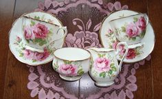 American Beauty by Royal Albert - Bone China England - 6 Pieces: 2 Cups and Saucers, Cream and Sugar - Pink Roses with Brushed Gold Trim by OfftheShelf2015 on Etsy