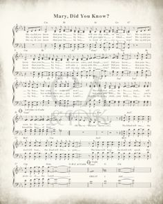 Mary Did You Know Christian Hymnal Sheet Music Art Print