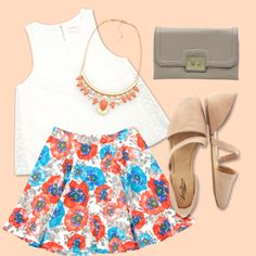 Floral Skirt+nude shoes #iNStyle #FashionBySiman #SkaterSkirt