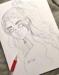 Girl Drawing Sketches, Art Drawings Sketches Simple, Pencil Art Drawings, Cute Drawings, Anime Girl Drawings, Arte Sketchbook, Cartoon Art Styles, Art Tutorials, Cute Art