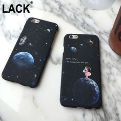 For Apple iPhone 6 6S/6 6s Plus /5 5S Fashional 6 Series Airship Astronaut Stars Case Moon boy and girl For Phone Case